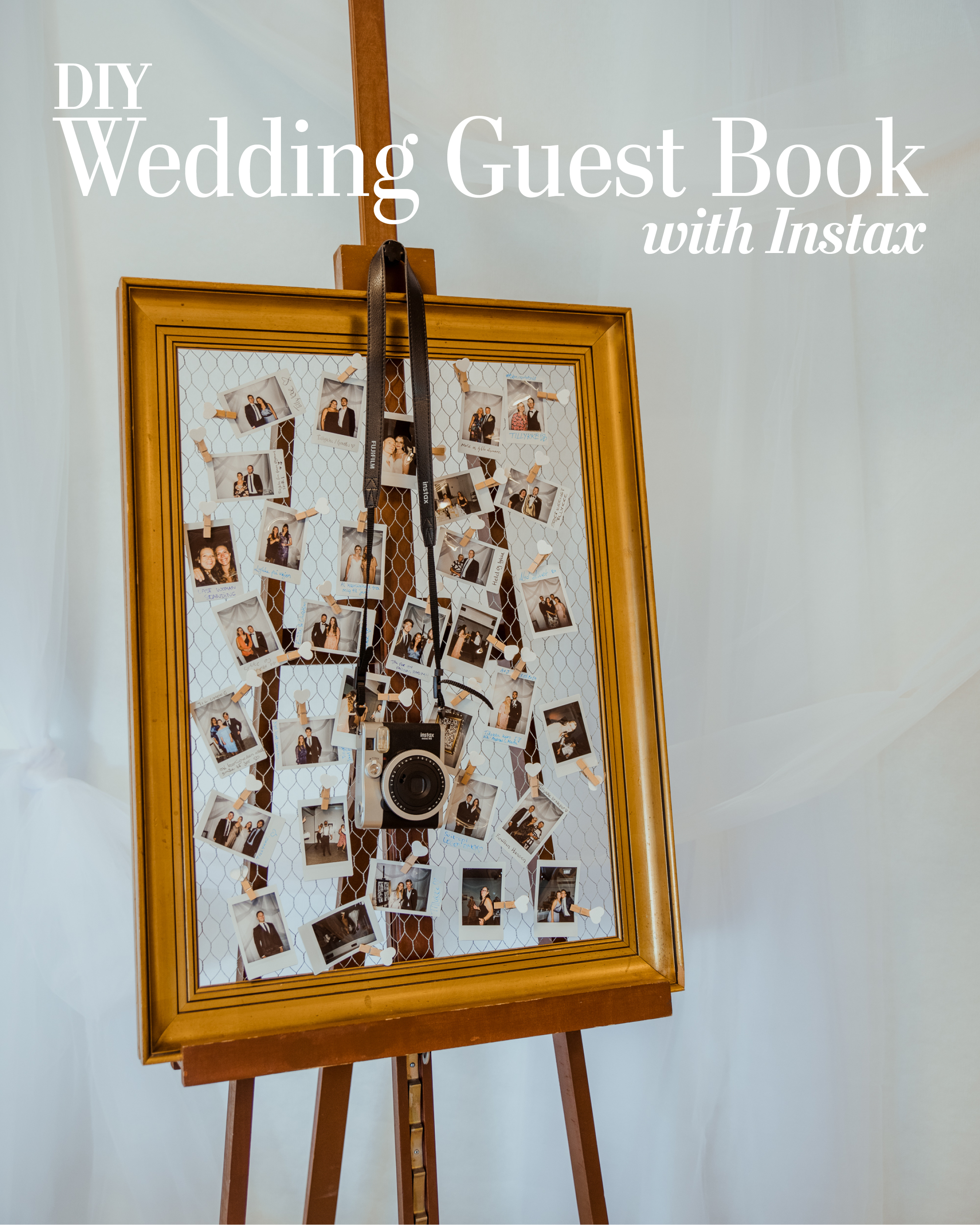 Instead of the traditional wedding guest book we wanted to do a instant photo wedding guest book. The guests wrote their regards on the back of the picture - and absolutely loved it!  Instant photo wedding guest book made from antique frame and Instax photos