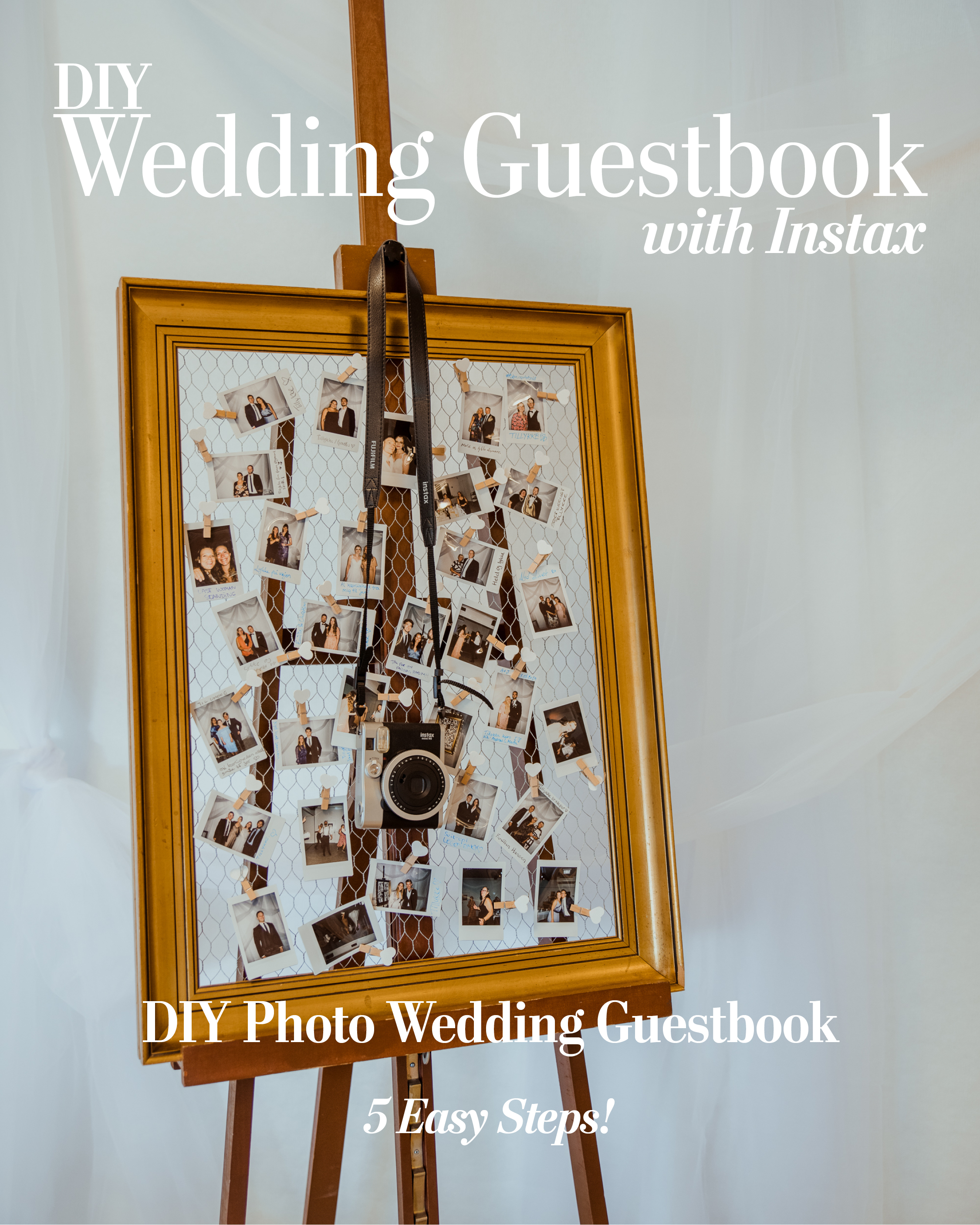 Instant photo wedding guestbook made from antique frame and Instax photos
