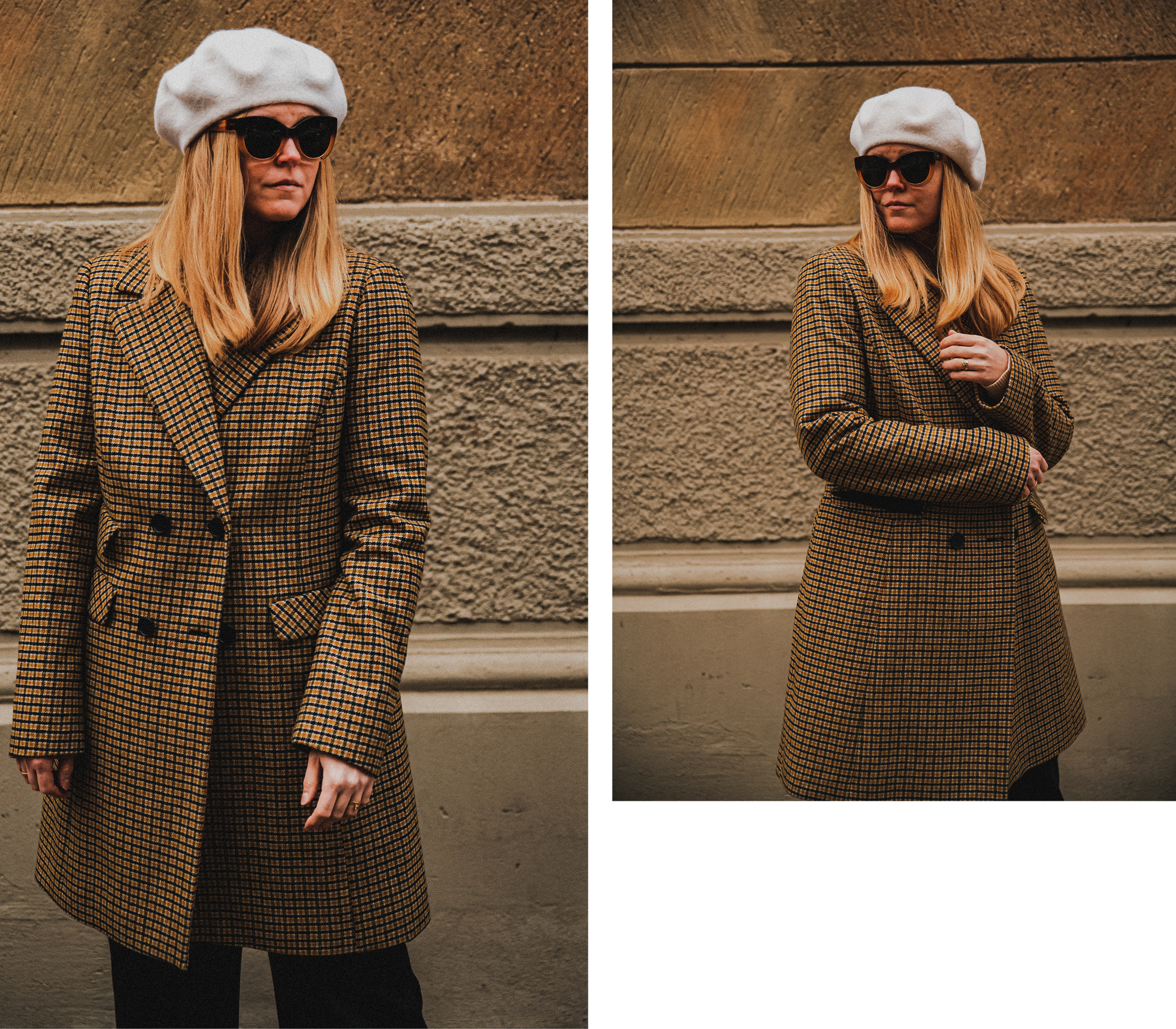 Parisian style inspiration for men and women. Woman wearing beret and checkered double breasted coat