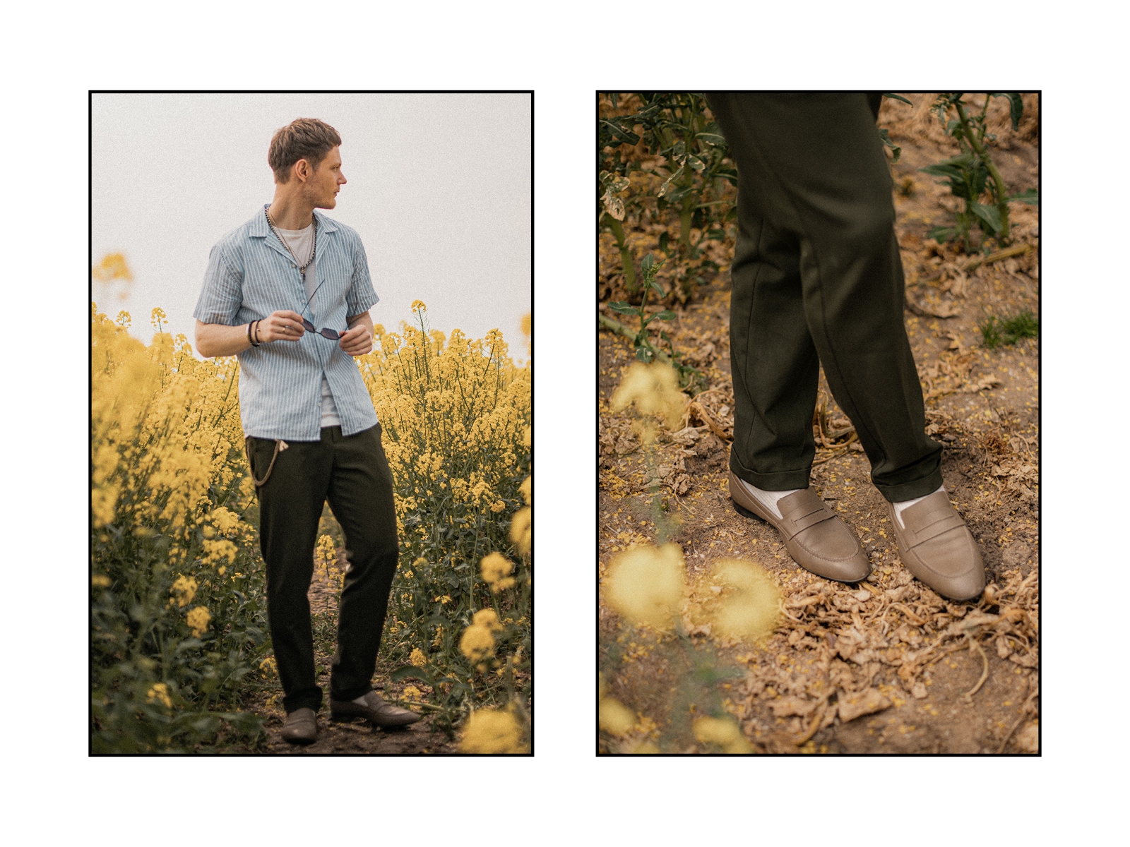mens fashion spring editorial in yellow field with hermes loafers